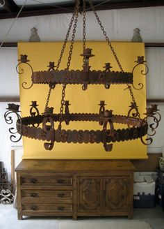 """Hacienda Style  Iron Lighting Group 2  #310 Mexican Iron Chandelier, Shown in Two-Tier Style.   Bottom ring, 48""""D; Top ring 36""""D.     Also available in custom sizes."""