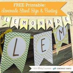 Lemonade sign and bunting.  Too adorable!