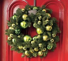 Christmas Wreath...how gorgeous is this on a red door?