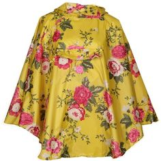 Joules Women's Floral Yellow Poncho Jacket ($32) ❤ liked on Polyvore