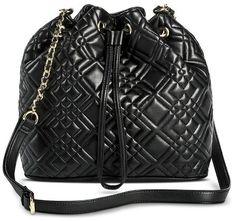 Merona® Women's Quilted Cinch Crossbody Handbag with Snap Closure - Black