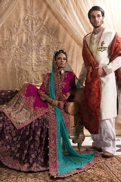 Bridal and groom designer lehenga and sherwani