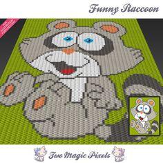 Funny Raccoon c2c graph crochet pattern; instant PDF download; baby blanket…