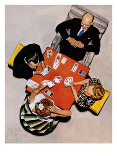 """""""Bridge Game"""" or """"Playing Cards"""", Norman Rockwell"""