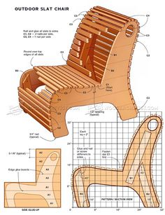#2542 Outdoor Slat Chair Plans - Outdoor Furniture Plans