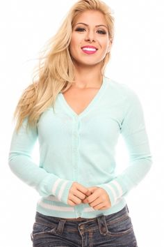 MINT STRIPED BUTTON LONG-SLEEVE V-NECK SWEATER CARDIGAN