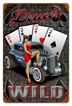 Vintage and Retro Wall Decor - JackandFriends.com - Vintage Deuces Wild  - Pin-Up Girl Metal Sign, $39.97 (http://www.jackandfriends.com/vintage-deuces-wild-metal-sign/)