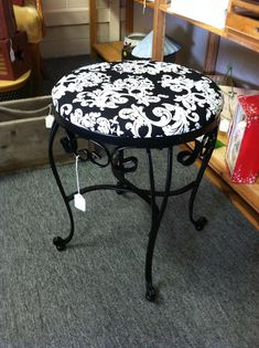 A old wrought iron vanity stool, took and painted it a new black and then added new fun black and white fabric. Iron Furniture, Steel Furniture, Industrial Furniture, Furniture Making, Furniture Design, Wrought Iron Chairs, Wrought Iron Decor, Wrought Iron Gates, Iron Coffee Table