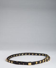 Diane Von Furstenberg black and gold studded leather 'Haley' double wrap belt   BLUEFLY up to 70% off designer brands