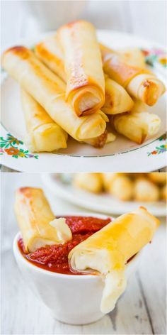 Skinny mozzarella cheese sticks: wrap a low-fat cheese stick in an egg roll wrapper, bake, and give in to the melty goodness.