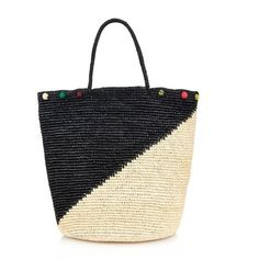 SENSI STUDIO Bi-colour straw pompom tote ($144) ❤ liked on Polyvore featuring bags, handbags, tote bags, swimwear, black multi, black purse, colorful tote bags, straw beach tote, straw tote bag and straw handbags