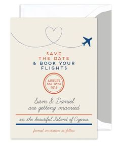 """Announce your destination wedding in style with this save the date card. """"Save the Date & Book your Flights"""" is printed in simple typography. Enter your custom details for a personalized announcement."""