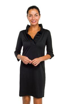 Gretchen Scott Ruffneck Dress Solid Black - Xs to Lg #mooresville location