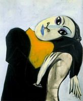 """Pablo Picasso - """"Dora Maar Tilted Head Scarf in Yellow (Bust of Women)"""". Completed in This portrait shows the first signs of facial deformation where Picasso fascinated by the face of Dora Maar. It emphasizes her eyes, her sensitivity and melancholy. Kunst Picasso, Art Picasso, Picasso Paintings, Arte Latina, Georges Braque, Spanish Painters, Paul Gauguin, Art Moderne, Painting & Drawing"""