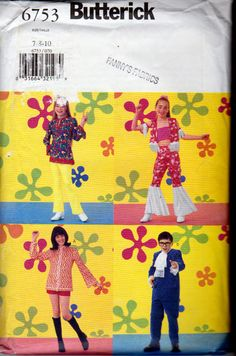 Butterick 6753 Yeah baby, Austin Powers Movie Costume Patterns for Children Sizes 7,8 and 10, Unisex Kids groovy sewing pattern, Uncut by OnceUponAnHeirloom on Etsy