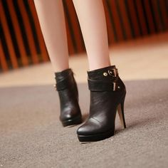 Lining Material: PU Upper Material: PU Outsole Material: Rubber Type: Half Boots Gender: Women Material: PU Season: Spring and Fall Types of Toes: Round Toes Ty