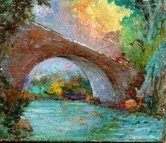 PAOLO SALVATI - Ponte sul fiume -  1979 - Opere di fantasia - Tempera su tavola -4,9x5,3.