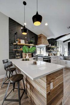 lambris bois aménagement cuisine moderne idée déco maison contemporaine style nordique #interiors #design