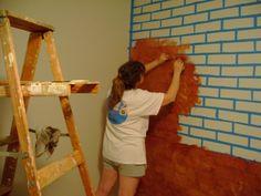using a sponge to paint bricks - Google Search