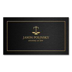 Elegant Black and Gold Attorney At Law business cards. Professional business cards for lawyers / attorneys.