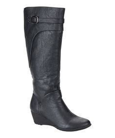 Take a look at this Black Oliva Wedge Boot by Softspots on #zulily today!
