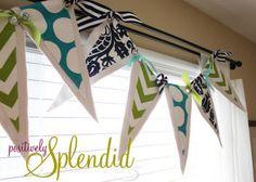 Pennant banner bunting baby boy nursery window treatment made with custom fabric
