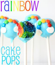 Rainbow and cloud cake pops - with a rainbow on the inside!