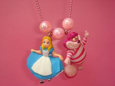 Alice in Wonderland Necklace, Alice and the Chesire Cat Wonderland Necklace, Kawaii Necklace, Fairytale Charm. $25.00, via Etsy.