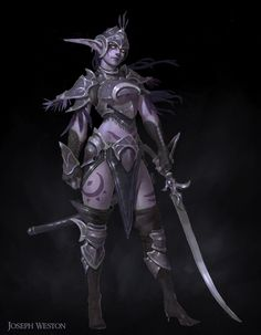 josephweston: Night Elf characters I painted for. Elf Warrior, Fantasy Female Warrior, Warrior Angel, World Of Warcraft Game, Warcraft Art, Elf Characters, Fantasy Characters, Fictional Characters, Fantasy Character Design
