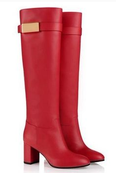 genuine-leather-women-boots-buckle-knee-high-boots-red-black-fashion ...