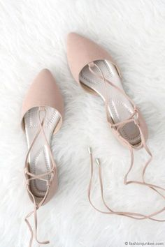 c9147df93126 Faux Suede Pointy Toe Strappy Lace Up Ballet Flats-Nude Beige