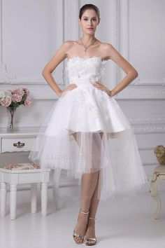 Short/Mini Applique Tulle Bridal Wedding Dress WD010252