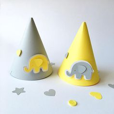 Gray Yellow Baby Party Hats Elephant Baby Boy Girl 1 st