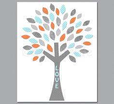 Aqua and coral nursery wall art, Nursery Art Print, 8x10,Kids Room Decor, Baby Wall Art - tree, love, aqua, grey by SugarInspire on Etsy https://www.etsy.com/listing/128416840/aqua-and-coral-nursery-wall-art-nursery