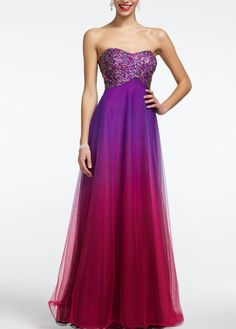 Strapless Ombre Prom Ball Gown with Beaded Bust - David's Bridal - mobile