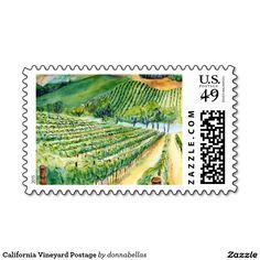 California Vineyard Art Custom Postage Stamps - Watercolor painting of a wine vineyard in California.