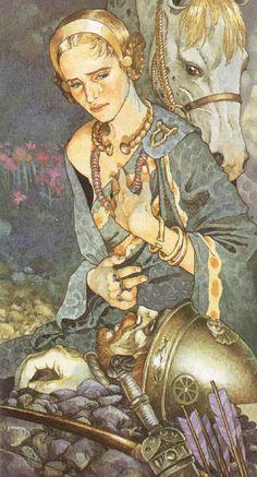 Celtic deities and mythological figures from the Celtic Tarot by Italian illustrator Giacinto Guadenzi Art And Illustration, Illustrations, Botanical Illustration, Art Inspo, Kunst Inspo, Celtic Tarot, Irish Mythology, Fantasy Kunst, Fairytale Art