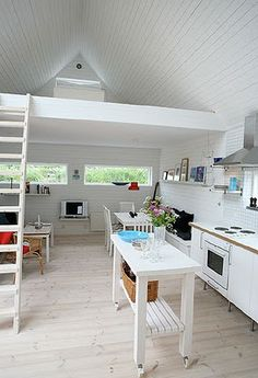 A cottage with an inviting loft. I want to be there, baking bread and sipping wine.  #Loft #Cottage #White