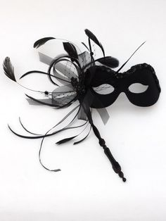 stripped rooster feather Mask