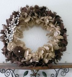 Burlap Wreath with Rosettes and Pearls - Rustic Wedding - Elegant Christmas - tea-dyed burlap Burlap Projects, Burlap Crafts, Wreath Crafts, Diy Wreath, Mesh Wreaths, Holiday Wreaths, Craft Projects, Burlap Wreaths, Craft Ideas
