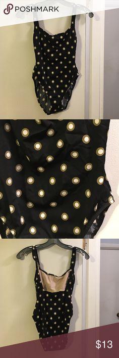 Calvin Klein one piece swimsuit Black w/ green and cream dots!  Shelf bra Calvin Klein Swim One Pieces