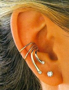 Pearl Cube Gold Ear Jackets - ear jackets / gold ear jacket / ear jacket earrings / modern earrings / statement earrings / gifts for her - Fine Jewelry Ideas Cuff Earrings, Unique Earrings, Statement Earrings, Wire Jewelry, Body Jewelry, Jewellery, Diamond Studs, Ear Piercings, Jewelry Accessories