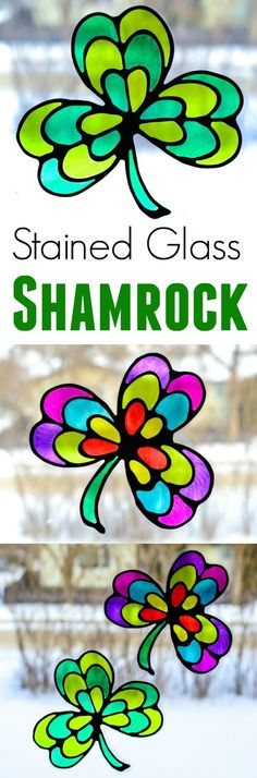Make a stained glass shamrock suncatcher with kids! Quick and easy craft in preparation for St. Patrick's Day celebration, that you can make with nothing but black glue, sharpie markers and recyclable plastic. #stpatricksday #sharpie #kidscraft #crafts #suncatchers