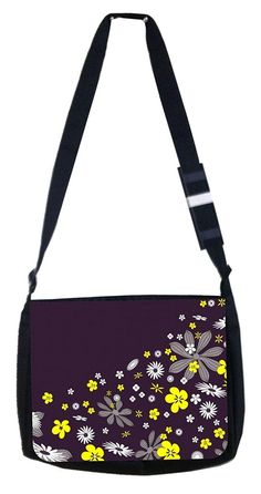 Yellow and black flower print Rosie Parker Inc. TM Medium Sized Messenger Bag 11.75' x 15.5' -- Be sure to check out this awesome product.