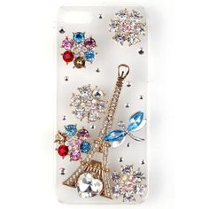 Stylish Bling Dragonfly Flower Tower 3D Case Hard Cover For Apple iphone 5 5S