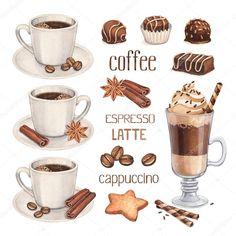 Скачать - Акварельные иллюстрации кофе Кубок и шоколадные конфеты — стоковое изображение #39800805