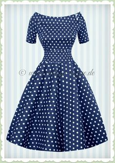Dolly & Dotty 50er Jahre Rockabilly Punkte Kleid - Darlene - Navy Blau Weiß