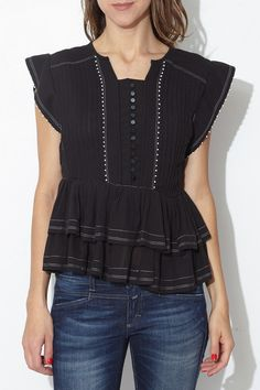 Black Pleated Raquel Top by Isabel Marant | shopheist.com