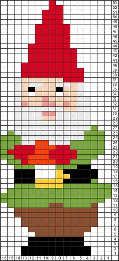Tricksy Knitter Charts: Christmas Gnome by Chloé Haviland Office Christmas, Christmas Gnome, Christmas Cross, Christmas Stockings, Perler Patterns, Bead Patterns, Cross Stitch Patterns, Fuse Beads, Perler Beads