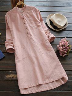 Women Pure Color Buttons Vintage Shirt Mini Dresses